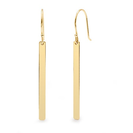 Designer Inspired Gold Dangling Bar Earrings | Eve's Addiction®