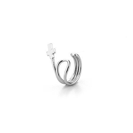 Cross Ear Cuff in Sterling Silver