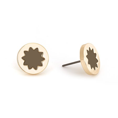 House of Harlow 1960 Mini Sunburst Stud Earrings in Khaki and Gold