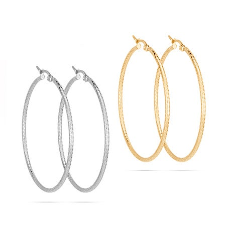 "2"" Gold & Silver Stainless Steel Etched Hoop Earrings Set 