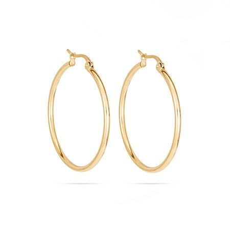 "1.25"" Gold Stainless Steel Hoop Earrings 