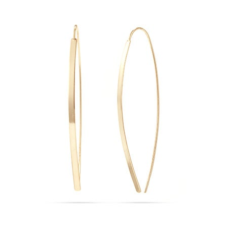Gold Vermeil 2 Inch Slender Bar Drop Earrings | Eve's Addiction®
