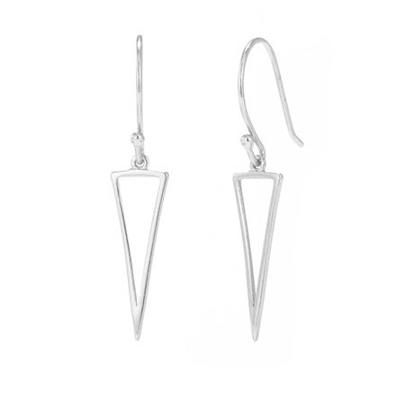 Delicate Triangle Drop Earrings in Sterling Silver | Eve's Addiction®