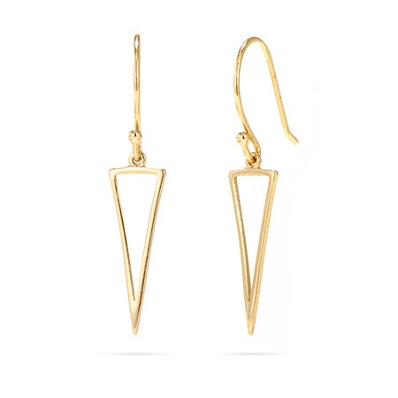 Gold Vermeil Triangle Outline Drop Earrings | Eve's Addiction®