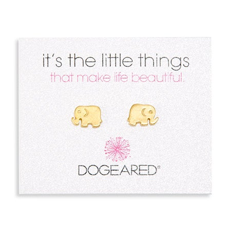 Dogeared It's The Little Things Elephant Gold Earrings