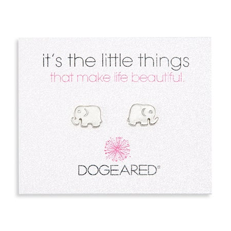 Dogeared It's The Little Things Sterling Silver Elephant Earrings