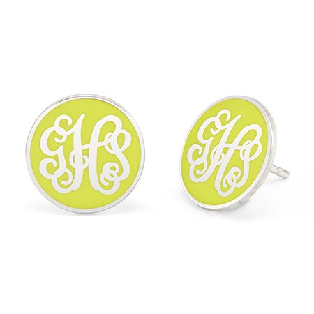 Round Custom Enamel Monogram Earrings | Eve's Addiction