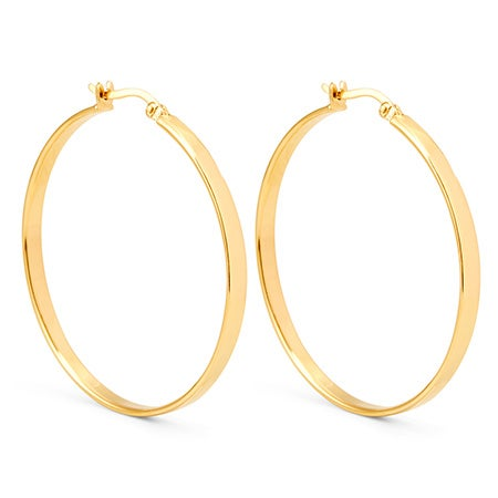 Gold Plated Sterling Silver Medium Flat Hoop Earrings