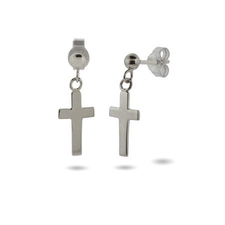 Simple Plain Silver Cross Dangle Earrings | Eve's Addiction®