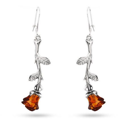 Sterling Silver Baltic Amber Rose Earrings | Eve's Addiction®
