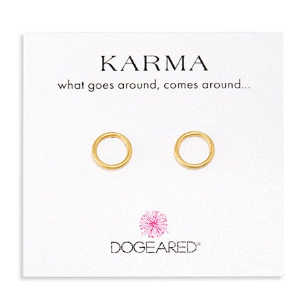 Dogeared Karma Smooth Stud Gold Dipped Earrings