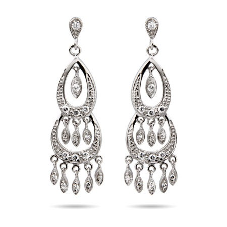 Celebrity Inspired Sterling Silver Diamond CZ Chandelier Earrings | Eve's Addiction®