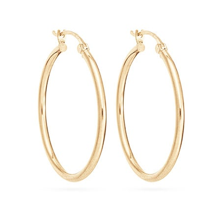 "14K Gold 1"" Hoop Earrings 