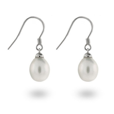 White Freshwater Oblong Pearl Drop Earrings | Eve's Addiction®