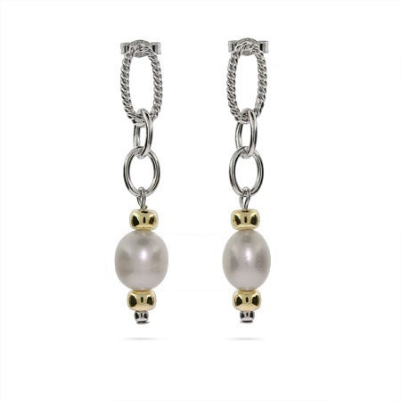 Designer Inspired Pearl Cable Link Earrings | Eve's Addiction®