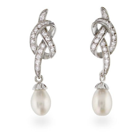 Vintage Style CZ Freshwater Pearl Drop Earrings | Eve's Addiction®