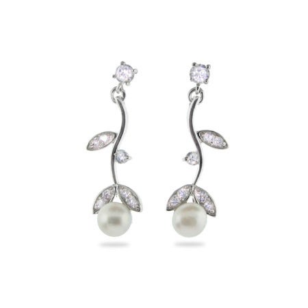 Sterling Silver CZ Vine Earrings with Pearls | Eve's Addiction®