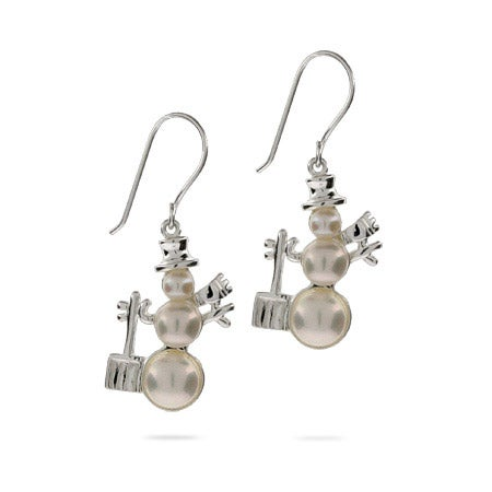 Frosty the Snowman Freshwater Pearl Earrings | Eve's Addiction®
