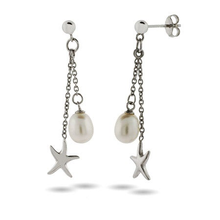 Sterling Silver Starfish Earrings with Pearl Drop | Eve's Addiction®