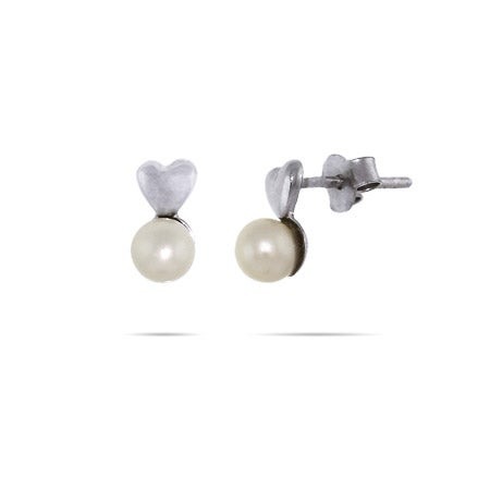 Petite Puffed Heart with Pearl Drop Stud Earrings | Eve's Addiction®