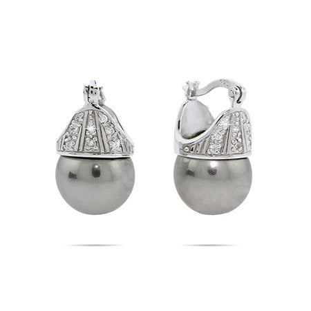 Sterling Silver Crowned Gray Pearl Earrings | Eve's Addiction®