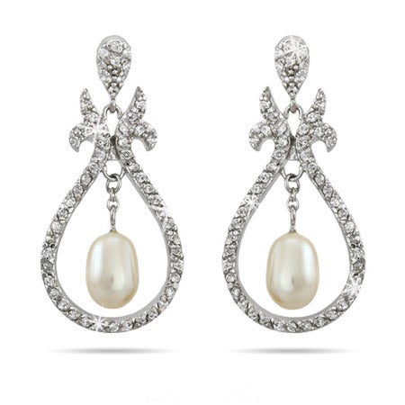 Beautiful Vintage Design Dangling Pearl CZ Earrings | Eve's Addiction®