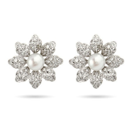 Pearl & CZ Daisy Studs in Sterling Silver | Eve's Addiction®