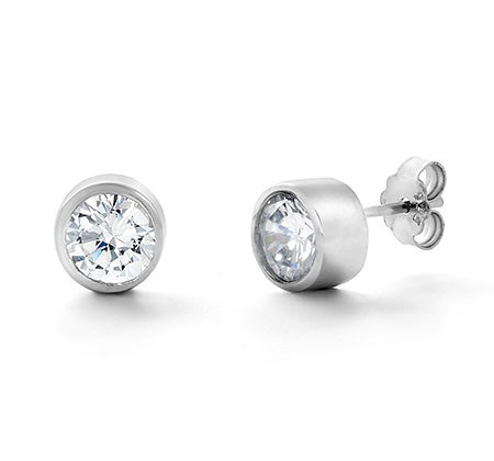 Designer Style Earrings with Bezel Set Cubic Zirconia | Eve's Addiction®