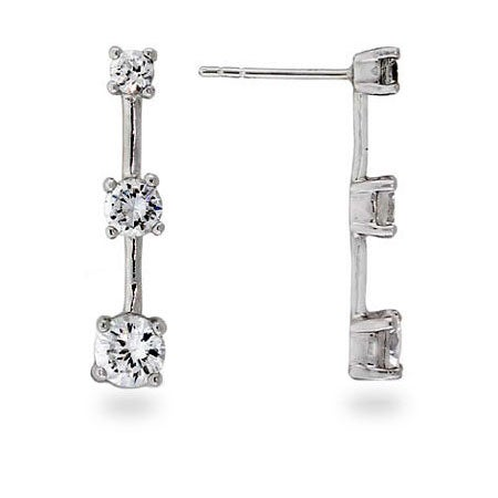 Past, Present and Future CZ and Sterling Silver Earrings | Eve's Addiction®