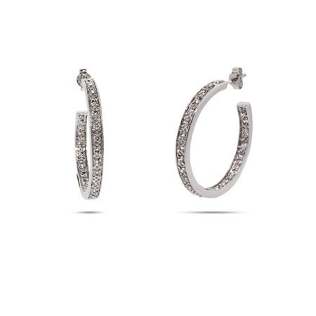 Diamond CZ Silver Hoop Earrings