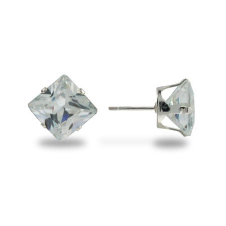 Sterling Silver 6mm Princess Cut Diamond CZ Stud Earrings | Eve's Addiction®