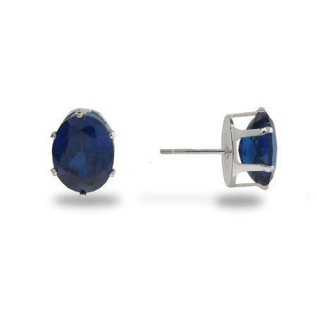 Simple Oval Cut Sapphire CZ Stud Earrings