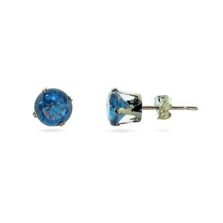 6mm Blue Topaz December CZ Stud Earrings