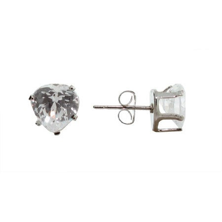 Heart Cut Sparkling White Cubic Zirconia Stud Earrings | Eve's Addiction®