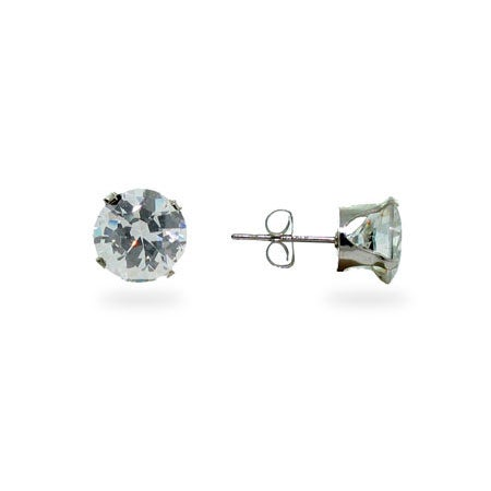 Sterling Silver Round Diamond 8mm CZ Stud Earrings | Eve's Addiction®