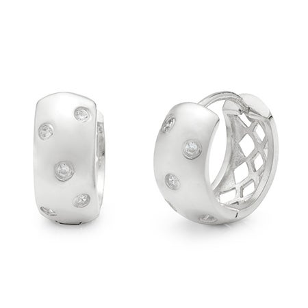 Designer Style Sterling Silver Twinkling Huggie Earrings