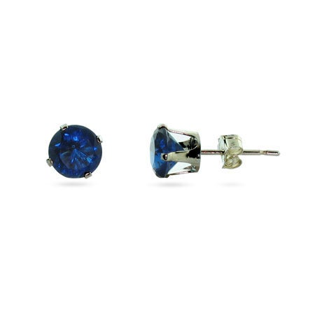 Silver 6mm Sapphire September CZ Stud Earrings