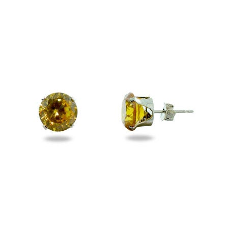Brilliant Cut 8mm Citrine CZ Stud Earrings in Sterling Silver | Eve's Addiction®