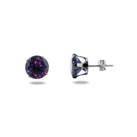 Brilliant Cut 8mm Amethyst CZ Stud Earrings | Eve's Addiction®