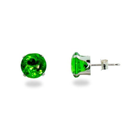 Peridot 8mm Silver CZ Stud Earrings