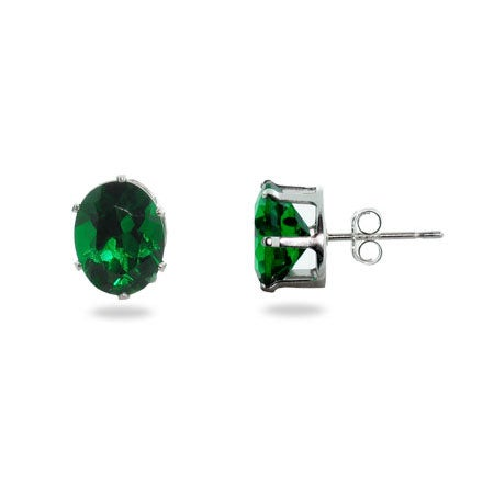 Emerald Cubic Zirconia Oval Stud Earrings | Eve's Addiction®