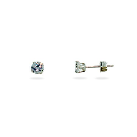 4mm Diamond Cubic Zirconia Stud Earrings | Eve's Addiction®