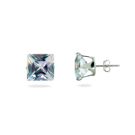 Sterling Silver 10mm Princess Cut Diamond CZ Stud Earrings | Eve's Addiction®