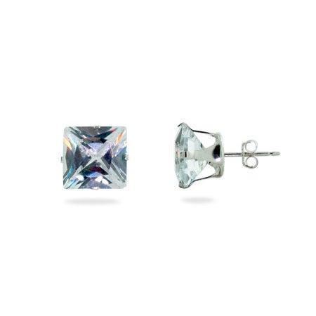 Sterling Silver 10mm Princess Cut Diamond CZ Stud Earrings | Eve's Addiction®