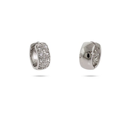 Silver Pave CZ Reversible Huggie Earrings | Eve's Addiction®