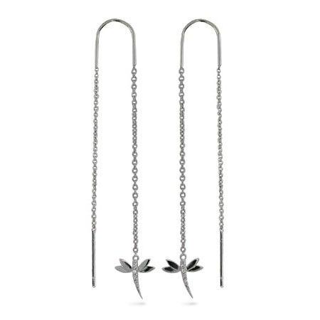 Dragonfly Threaders with Diamond CZs | Eve's Addiction®