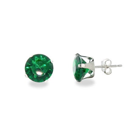 Sterling Silver 8mm Emerald Cubic Zirconia Stud Earrings | Eve's Addiction®