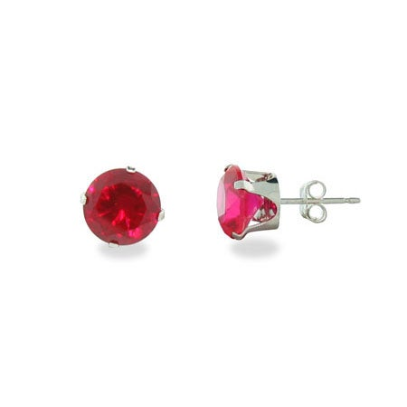 Sterling Silver 8mm Ruby Cubic Zirconia Stud Earrings | Eve's Addiction®