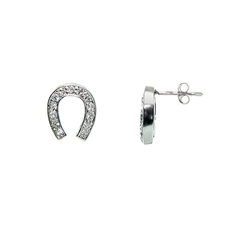 Designer Style CZ Lucky Horseshoe Earrings | Eve's Addiction®