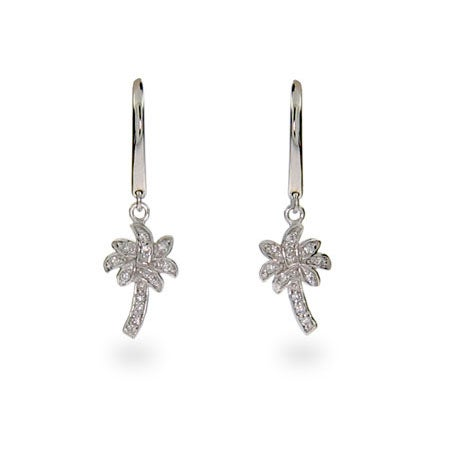 Designer Style Cubic Zirconia Palm Tree Earrings | Eve's Addiction®